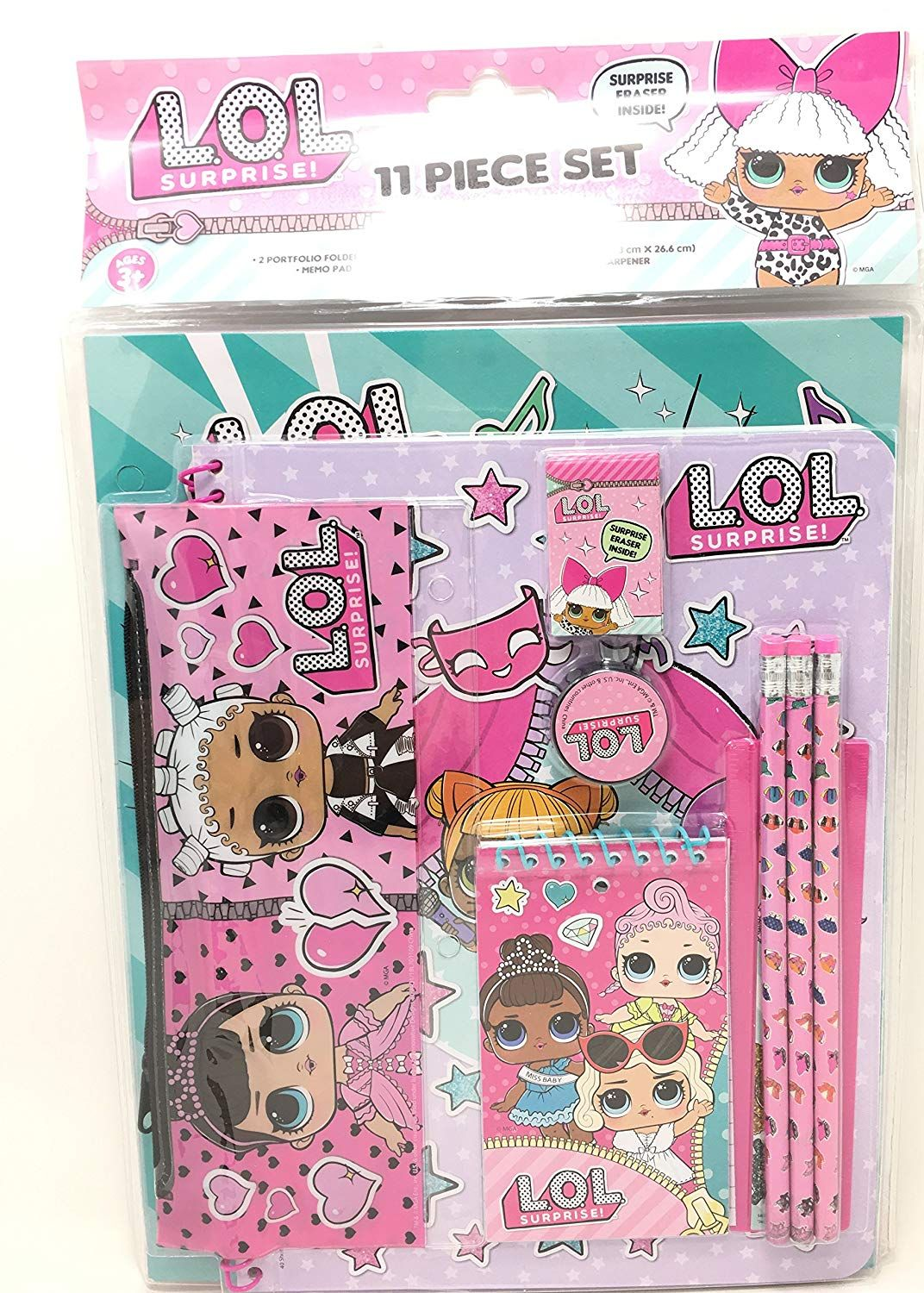Licensed LOL LOL Surprise! 11pc Stationery Set in bag