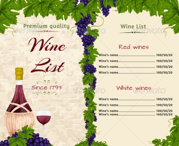 Wine List Template  Menu Templates