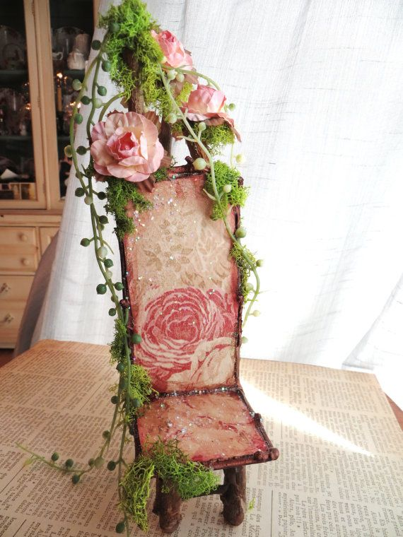 Sweet Willow Rose Handmade Fairy Chair by maryfontones on Etsy, $15.00