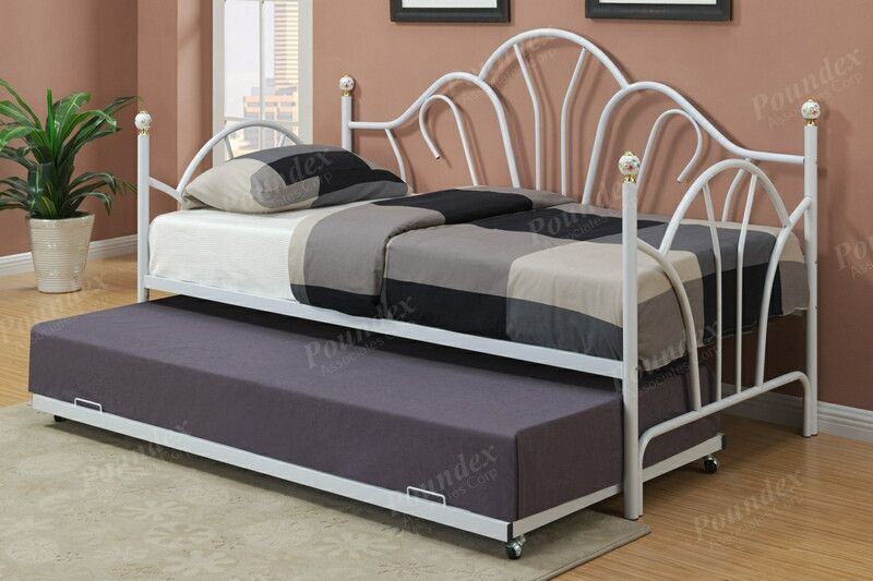 Poundex F9235 36 Gloss White Finish Metal Twin Size Day Bed Frame With Trundle Frame Twin Daybed With Trundle Day Bed Frame Daybed With Trundle