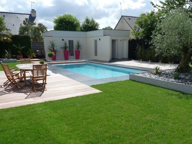 Avant-après  installation du0027une piscine dans un jardin design - gravier autour de la maison
