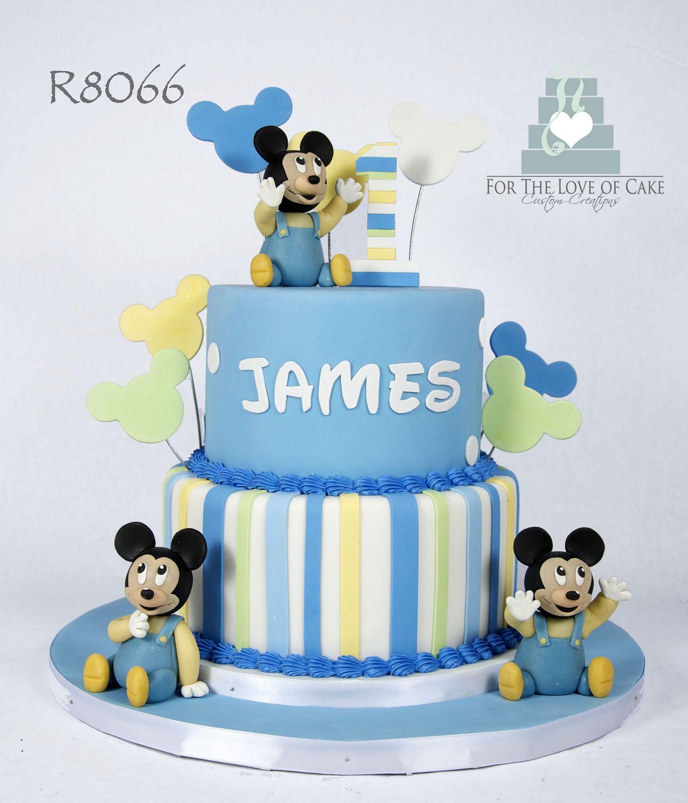 Admirable R8066 Blue Baby Mickey 1St Birthday Cake Toronto Mickey 1St Personalised Birthday Cards Sponlily Jamesorg