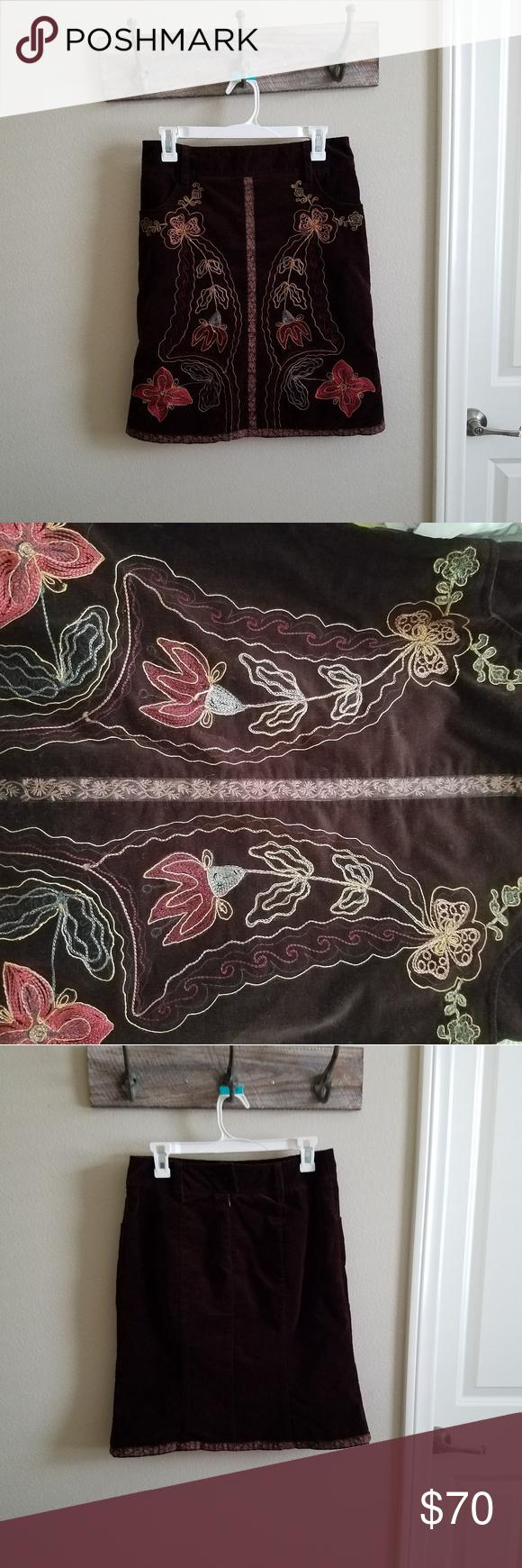 Nanette Lepore Embroidered Corduroy Skirt Corduroy Skirt