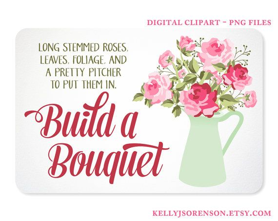 Shabby Chic Rose Bouquet in a Pitcher Digital by KellyJSorenson