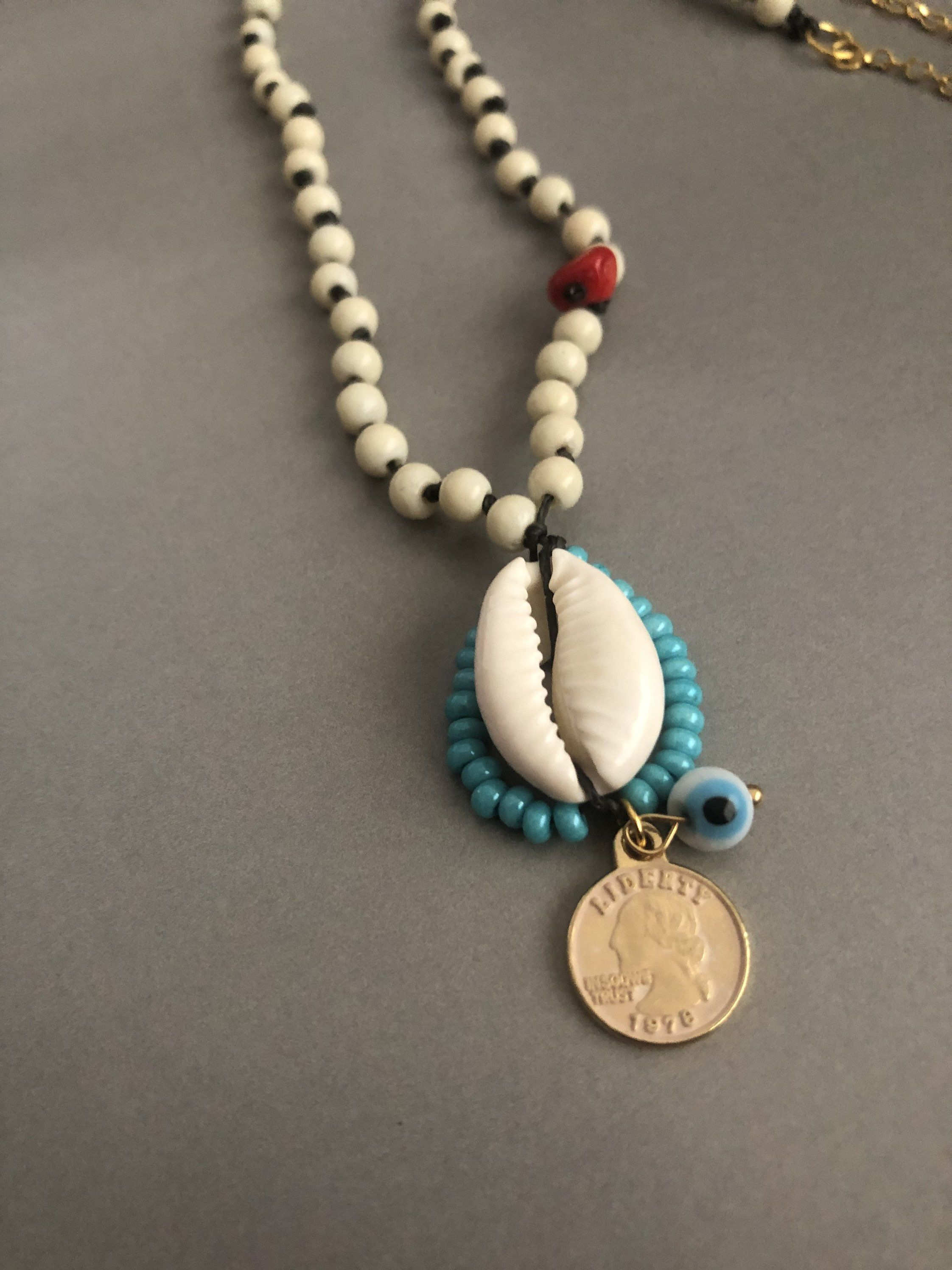 teardrop Czech glass bead necklace Blue necklace Czech glass seed bead necklace gift for her statement necklace layering necklace