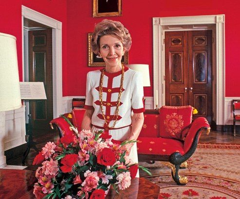 First Lady Nancy Reagan in the Red Room.