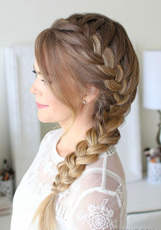 Hairstyles That Ll Look Gorgeous With Your Easter Hat In 2020 Side Braid Hairstyles Long Braided Hairstyles Prom Hairstyles For Long Hair