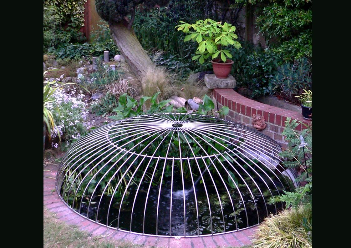 L bespoke oval dome design child safety pond cover made for Garden pond guards
