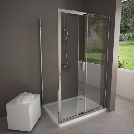 porte de douche coulissante paroi fixe paroi coulissante profil en aluminium finition. Black Bedroom Furniture Sets. Home Design Ideas