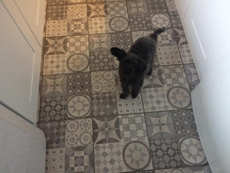 Grey Patterned Floor Tiles BampQ 20 Per Sqm In 2019 Bathroom Floor Tiles Tiled Hallway