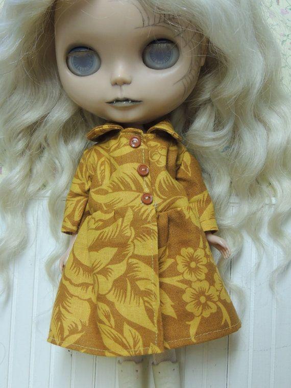 Mori Over Coat Mustard Floral by JennyTheArtist on Etsy, $21.00 #blythe