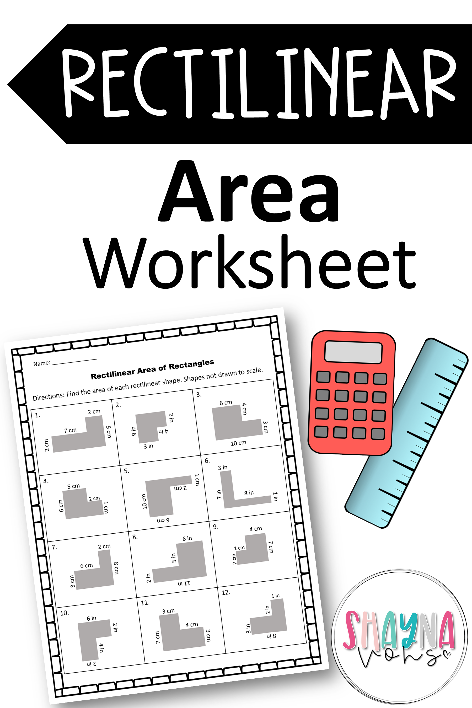 Distance Learning Rectilinear Area Worksheets