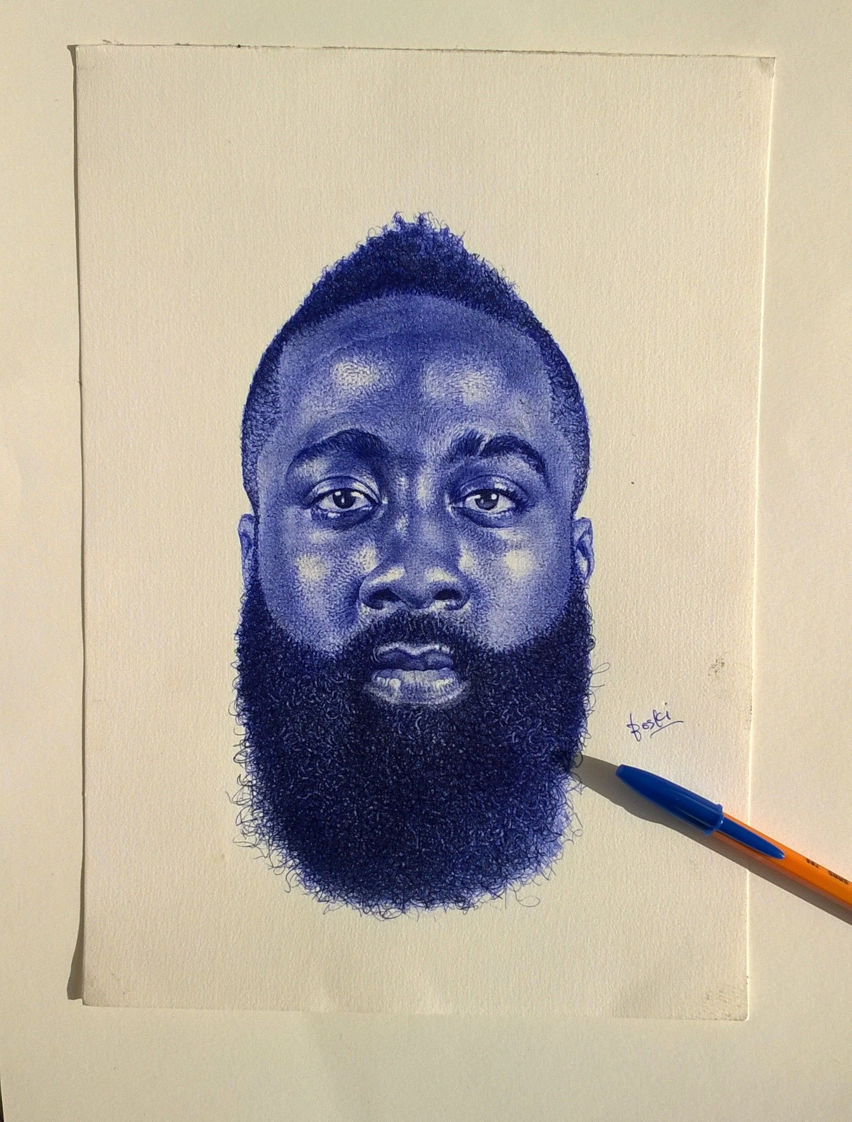 Portrait drawing of mba star james harden