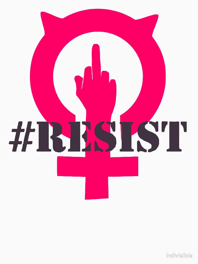 Resist Female Symbol With Pussycat Hat And Middle Finger Womens