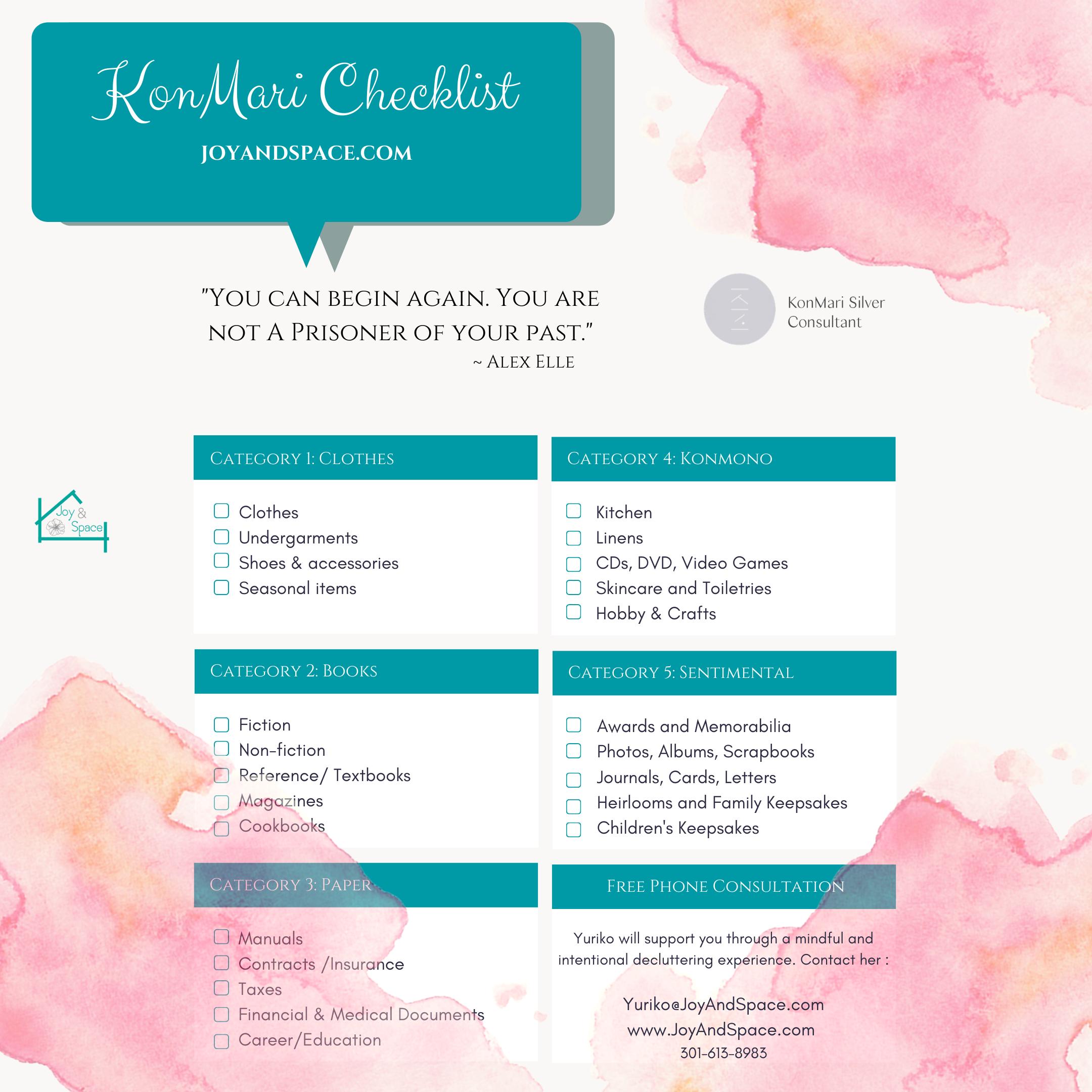 Marie Kondo Checklist Konmari Checklist Marie Kondo Konmari Method