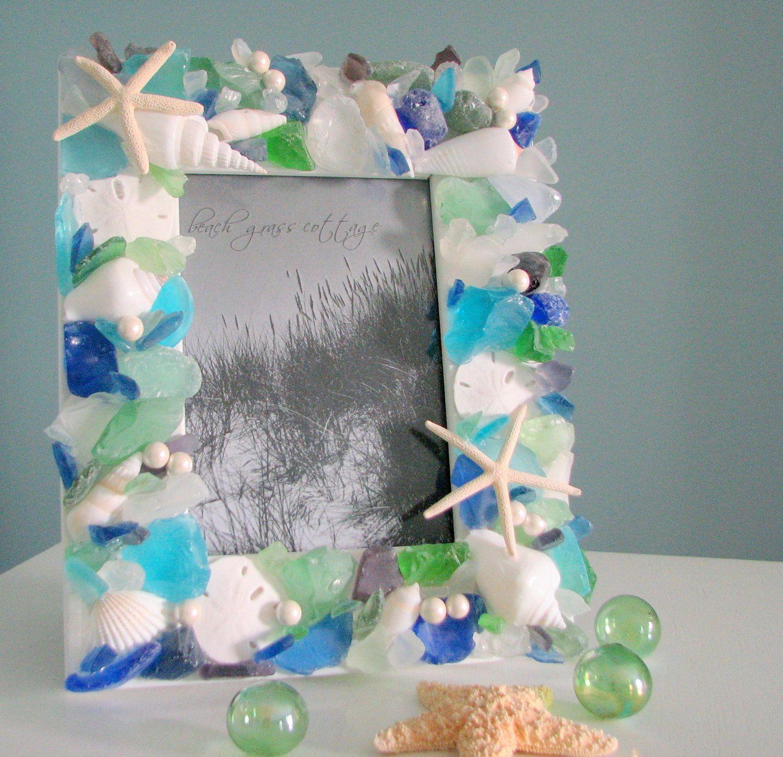Beach Decor Sea Glass Picture Frame, Nautical Decor Beach Glass ...
