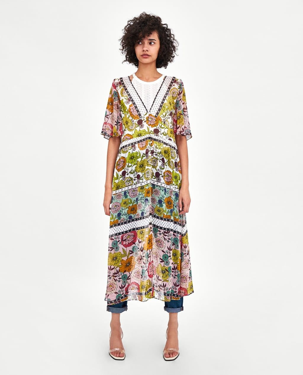 Image of printed crossover robe dress from zara the closet