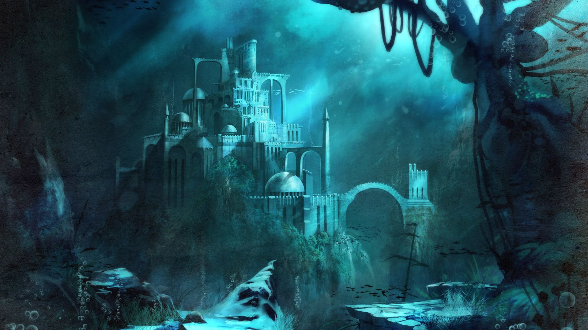 Image result for ancient ruins fantasy underwater