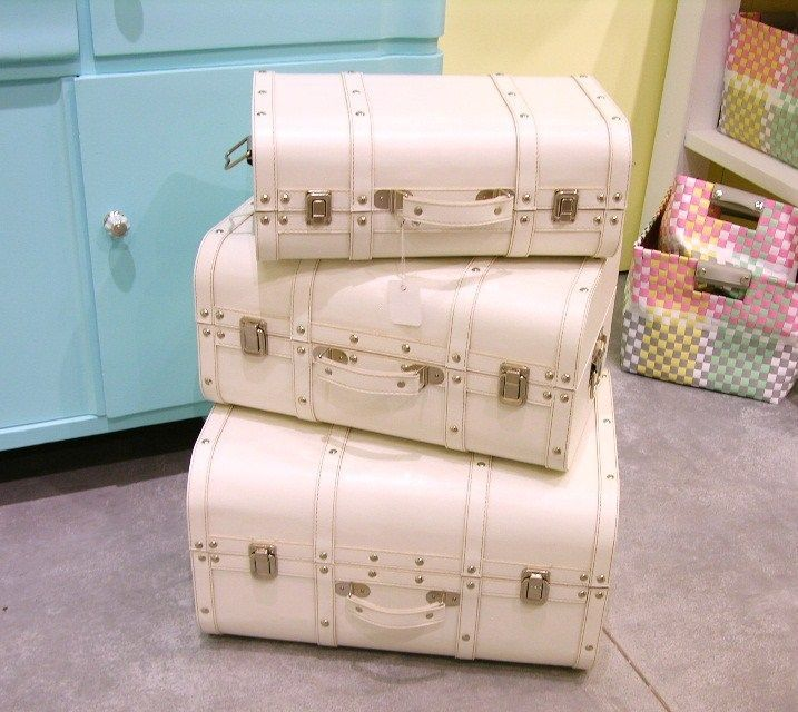 deko koffer set retro vintage shabby chic truhe set 3 tlg. in ... - Dekoideen Kisten