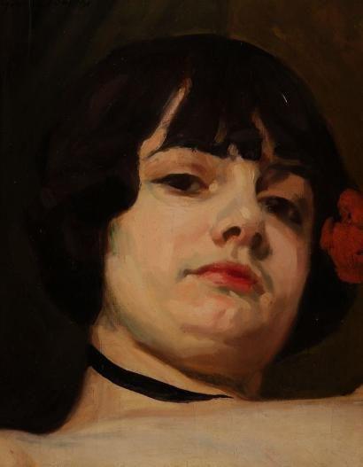 Georges BOTTINI (1874-1907) Portrait de femme Huile sur toile. Signée en haut