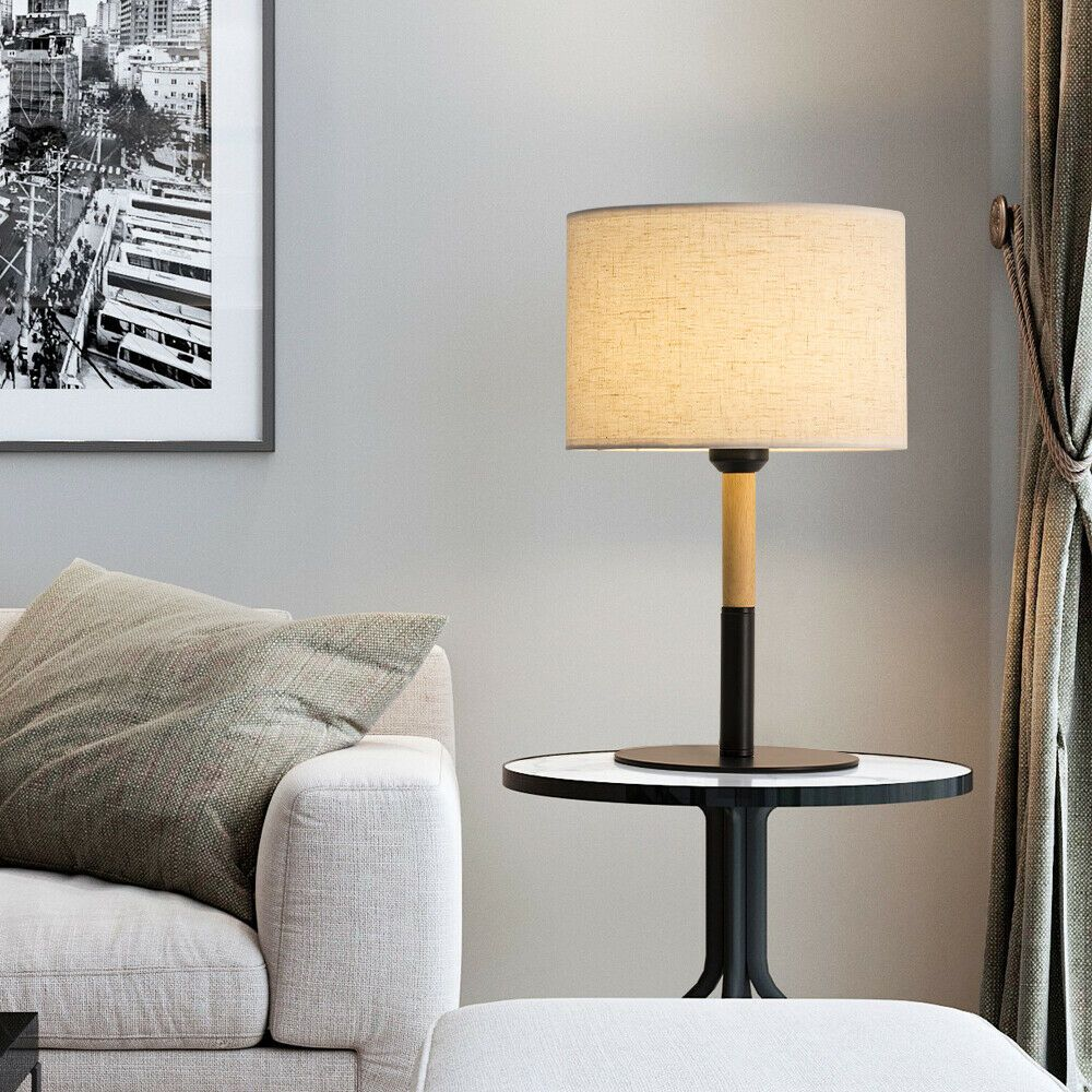 Bedside Table Lamp Metal Base Wooden Frame Fabric Shade For Rooms