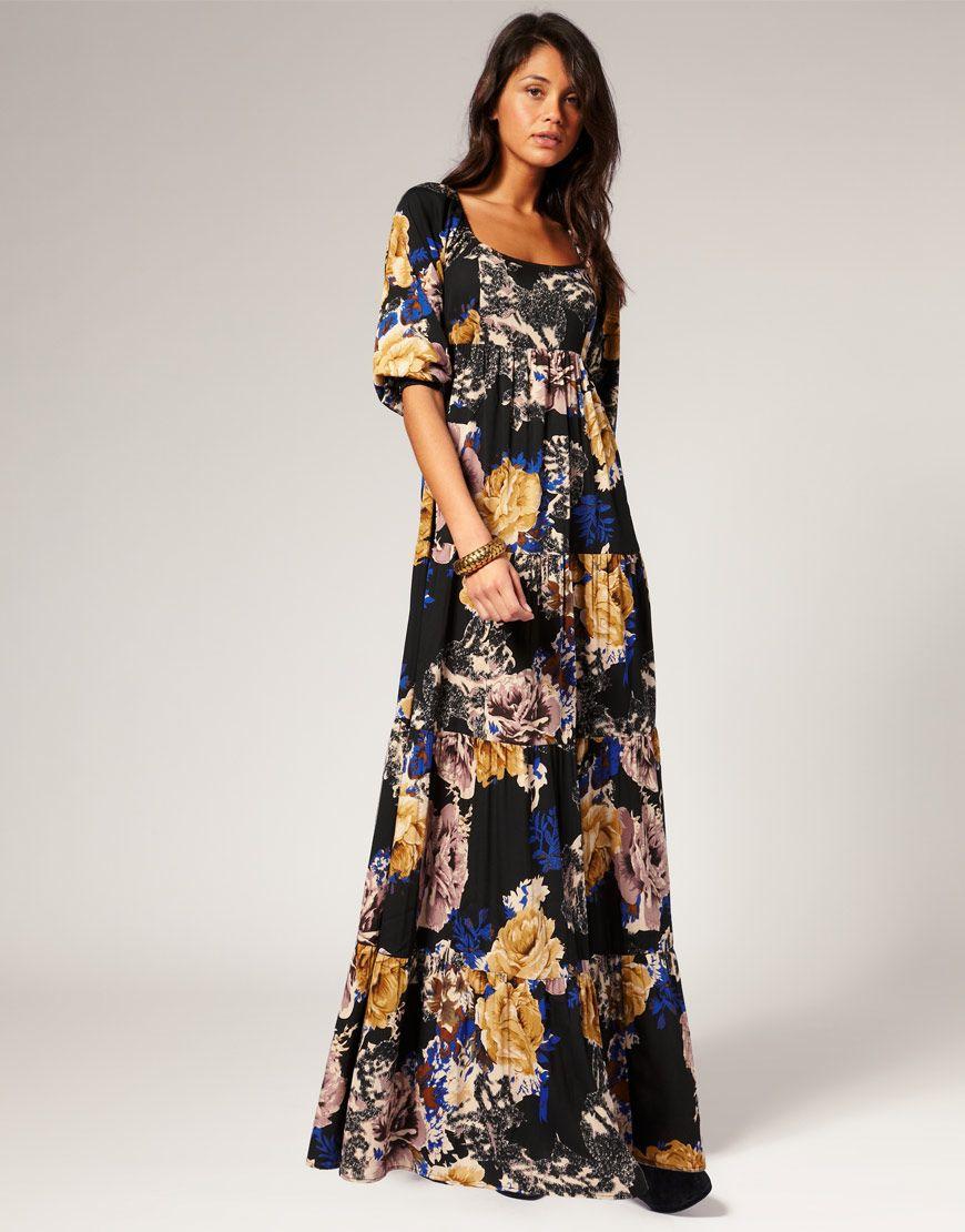 d673f6f0c5e Vero Moda 70 s Boho Winter Floral Maxi Dress