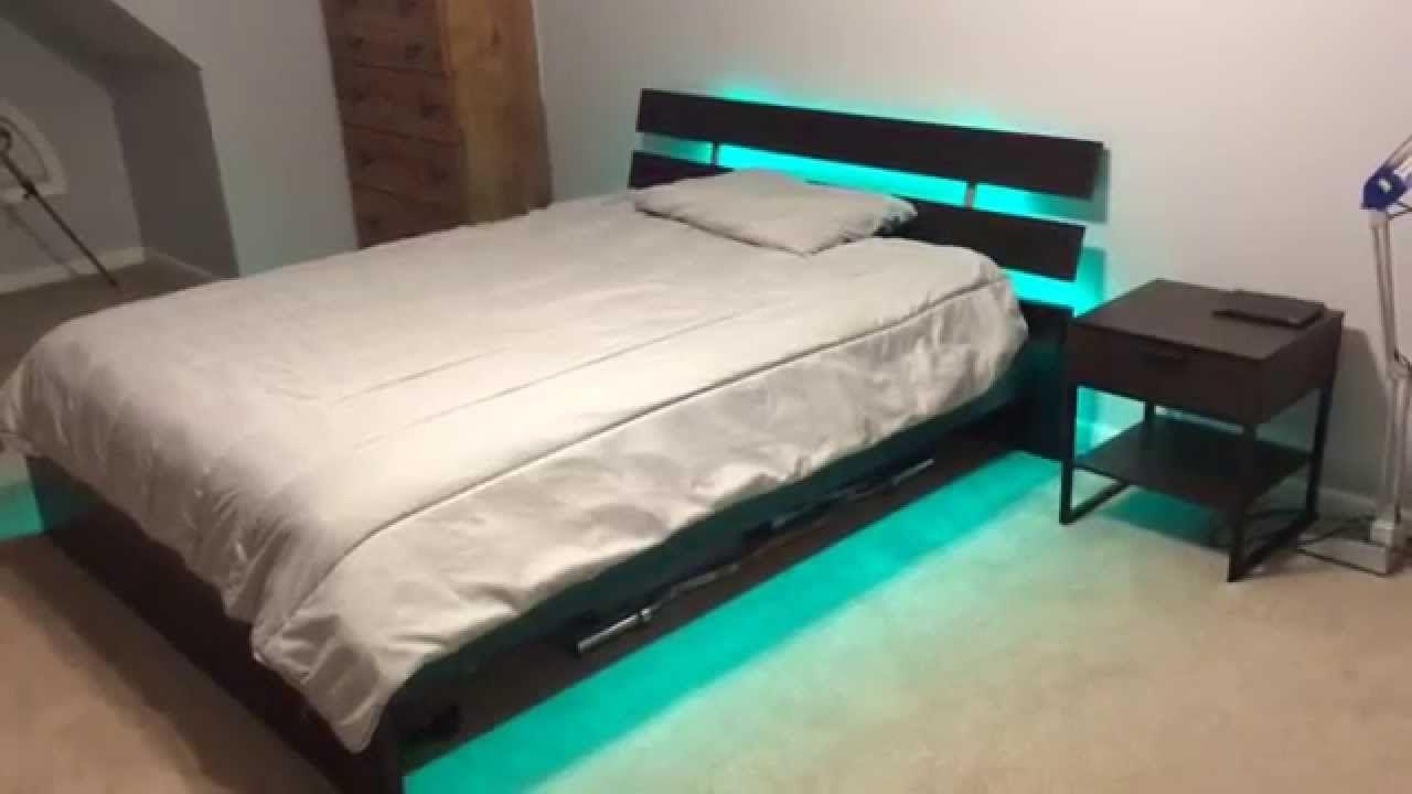 Led Strip Light Kit On Bed Frame Pallet Bed With Lights Wooden Pallet Beds Pallet Bed