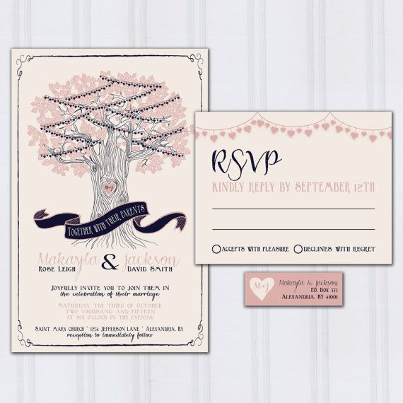 String Light Wedding Invitations Tree Wedding Invites Navy Blue
