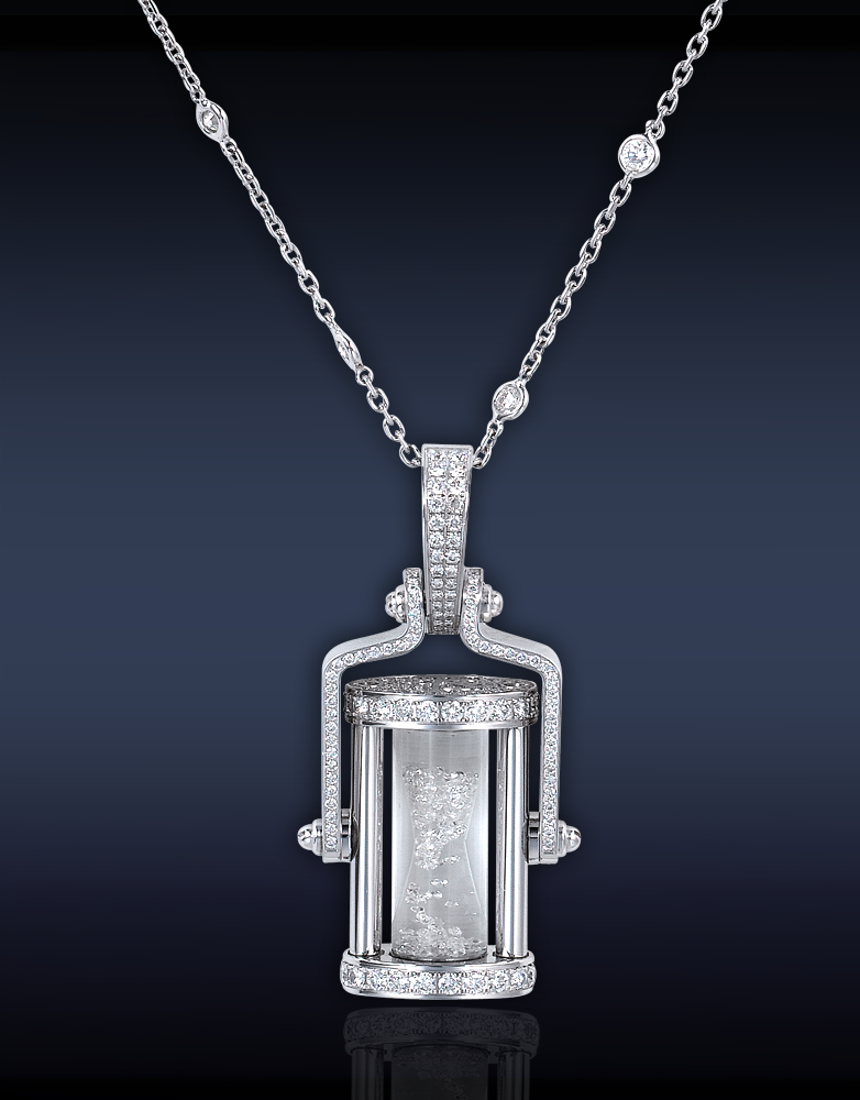 Jacob co jacob co diamond hourglass pendant featuring 080 ct diamond hourglass pendant featuring 080 ct round floating diamonds 208 ct round brilliant cut diamonds delicately set in a pave setting on stainless mozeypictures Image collections