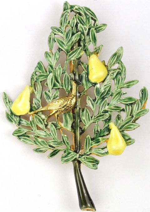 Sandor Gold and Enamel Partridge in a Pear Tree Pin
