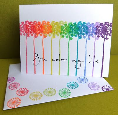 Rainbow card. Perfect for CTMH's Treasured life! Maybe try in pastels and deep color rainbows as well
