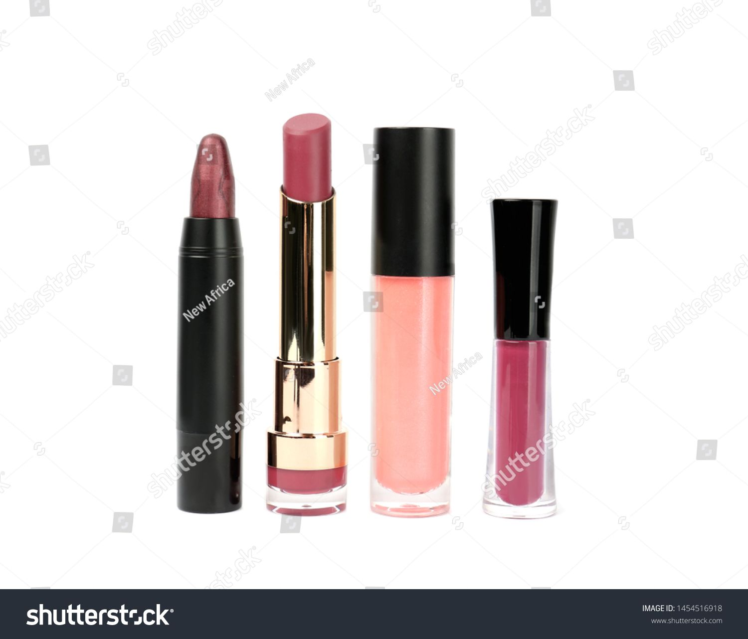 Set of colorful lipsticks isolated on white ,