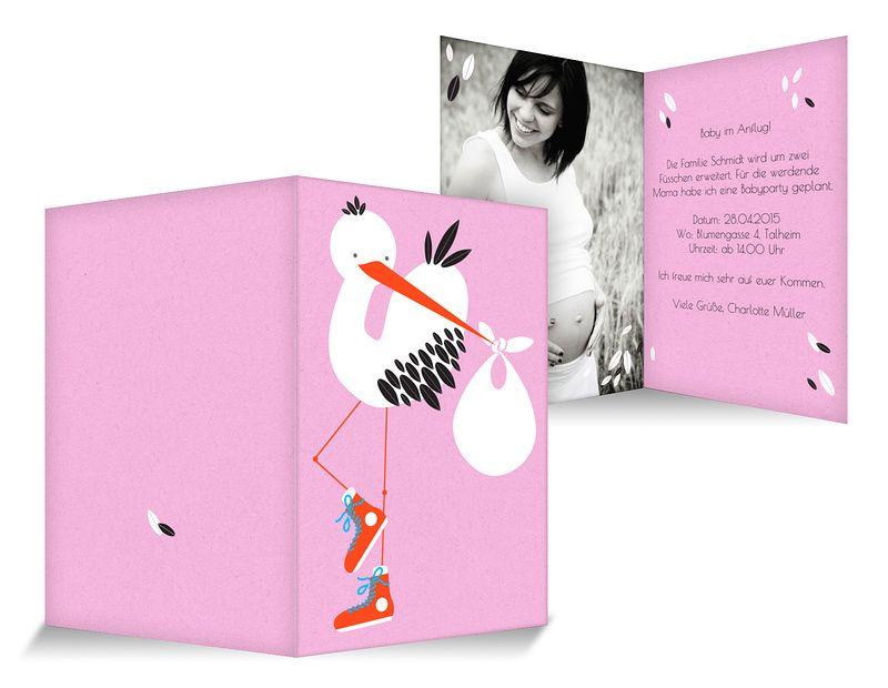 Babyparty Einladungskarten Sneaker Storch