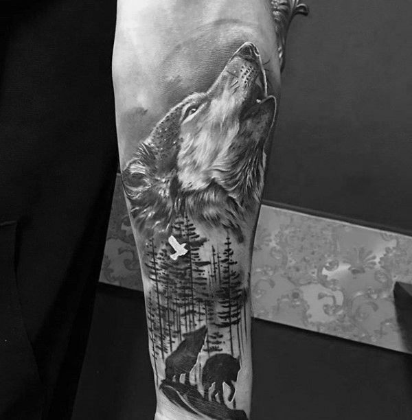 Shaded Howling Wolf Male Inner Forearm Tattoo Designs | Tattoos ...