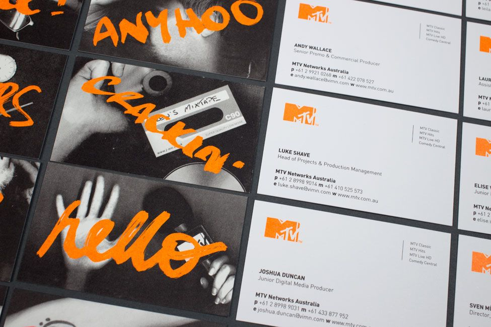 MTV business cards with black and white photography and a neon ink ...