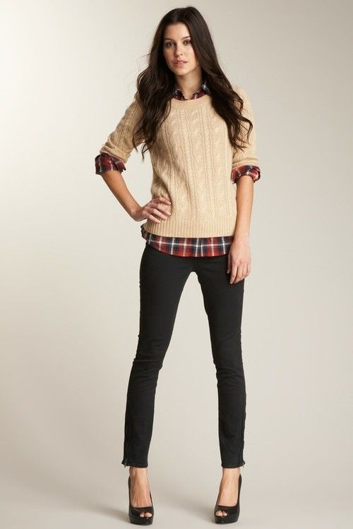 Plaid button down under cable knit sweater. Black jeans. | wish I ...