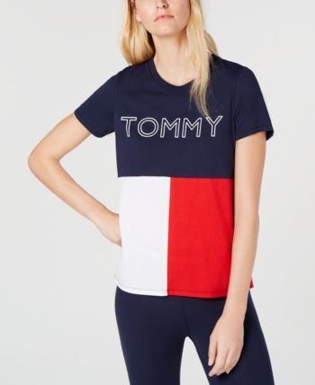 6f7630ab Tommy Hilfiger Sport Stenciled Logo T-Shirt - Blue S | Products in ...