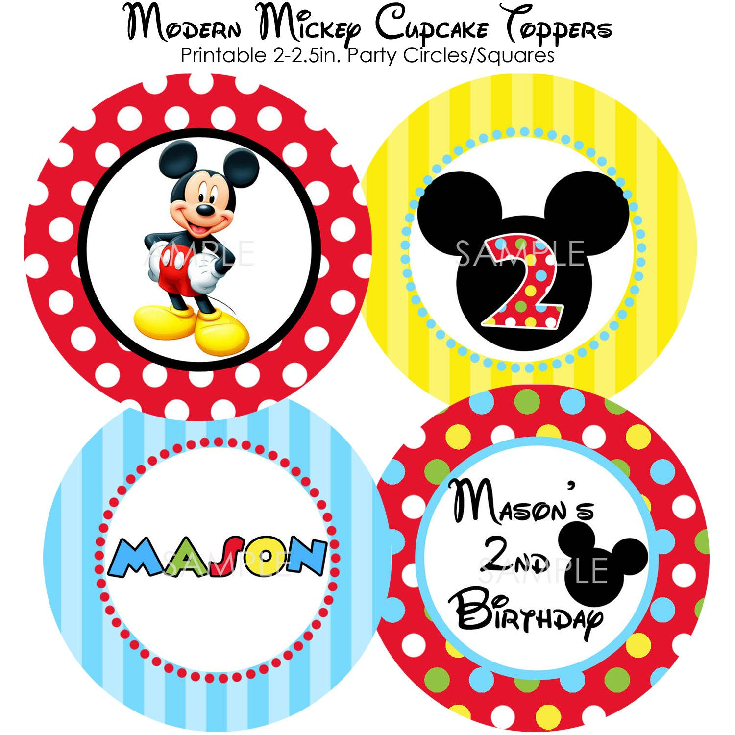 PRINTABLE Modern Mickey Mouse Cupcake Toppers - DIY - Personalized Small Party Circles. $6.00, via Etsy.
