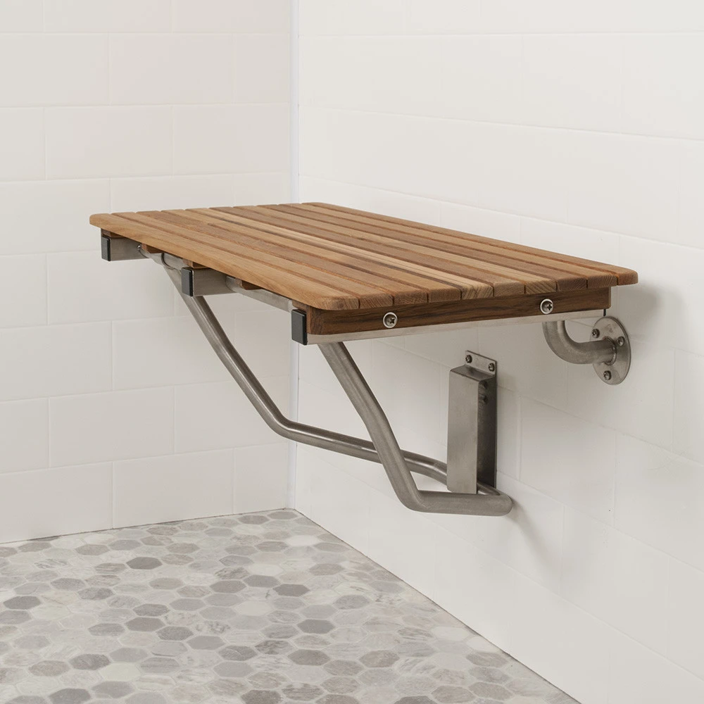 30 Wide Teak Ada Wall Mount Shower Bench Seat In 2020 Shower