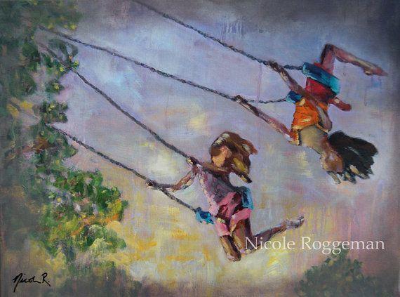 original oil painting, Swing Life Away, children playing ...