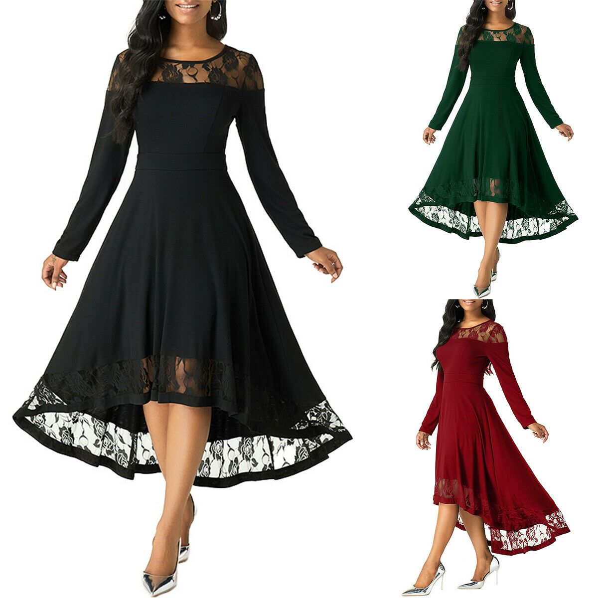 womens lace patchwork midi dress lady long sleeve evening