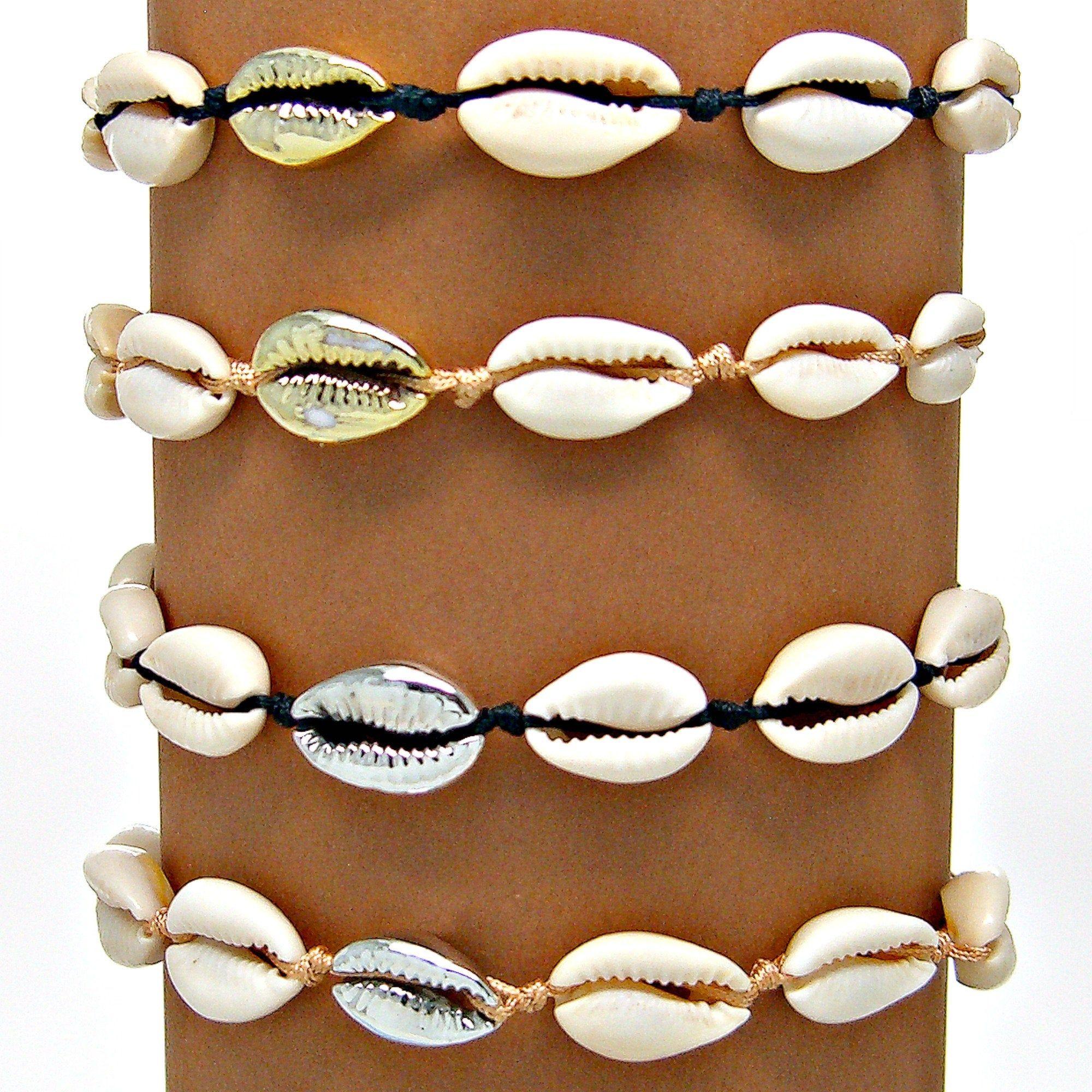 Cowrie Shell /& Silver Bead Bracelet Choker Anklet
