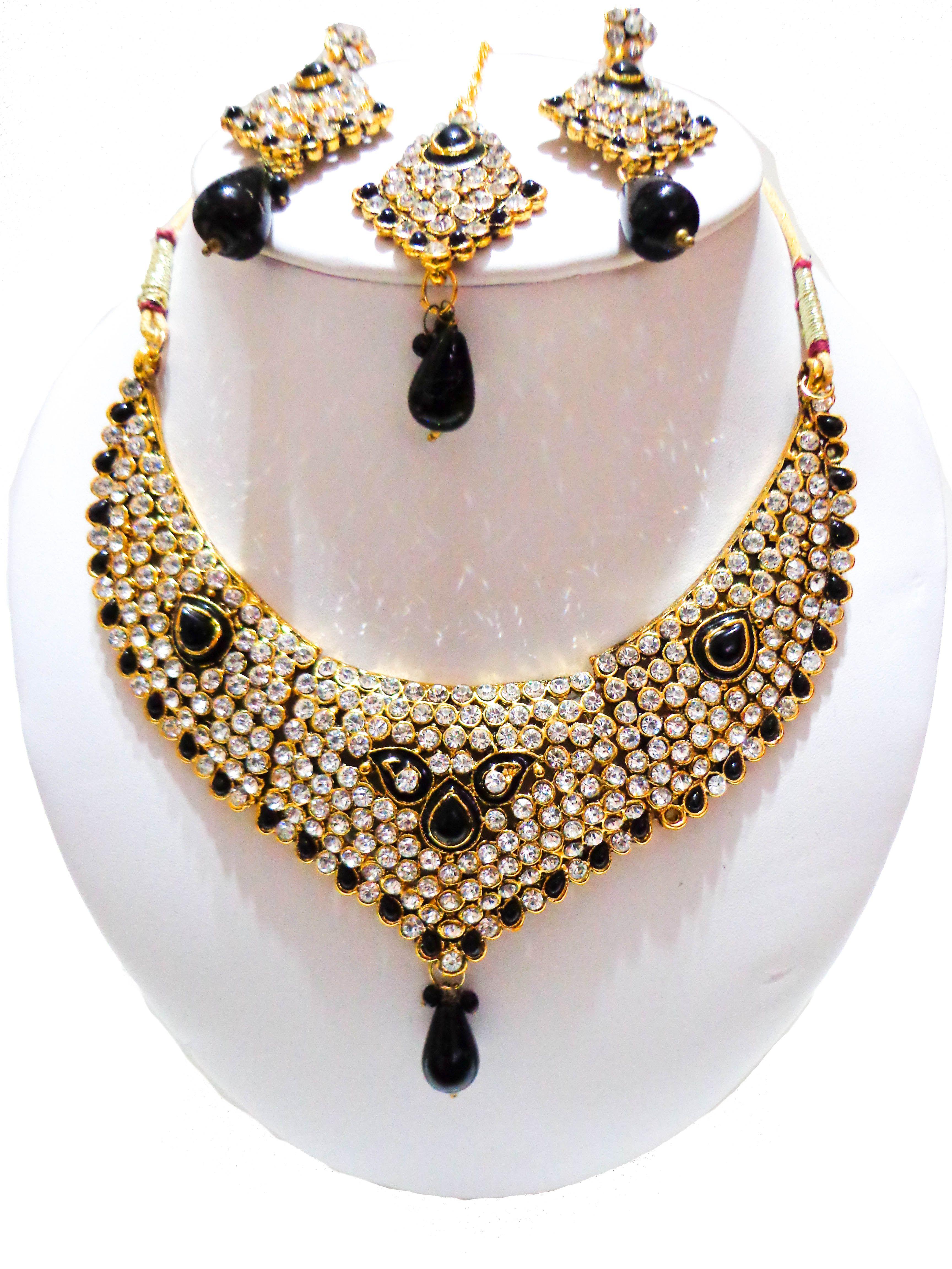 Beautiful Handmade Indian Bridal Jewelry Set 1 pc necklace 2 pc