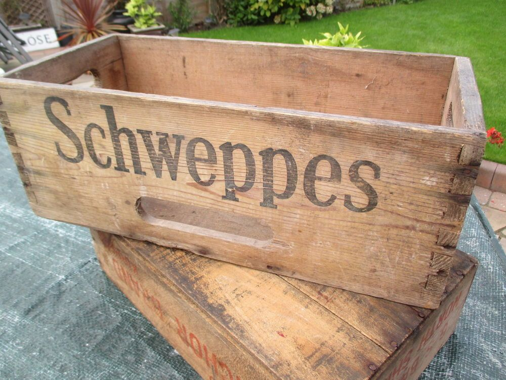Vintage1950s Schweppes Dovetail Wooden Crate Box 18quotx 9