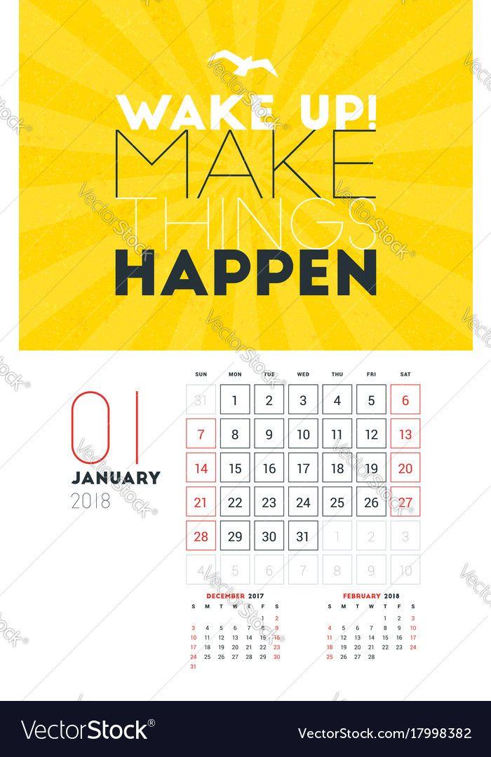 Wall Calendar Template for January 2018. Vector Design Print ...