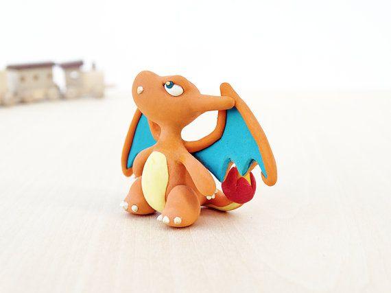 charizard handmade polymer clay figurine pokemon basteln. Black Bedroom Furniture Sets. Home Design Ideas