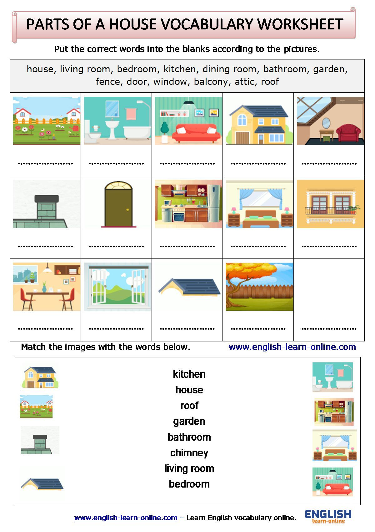 Parts Of A House Vocabulary Activity Worksheet In