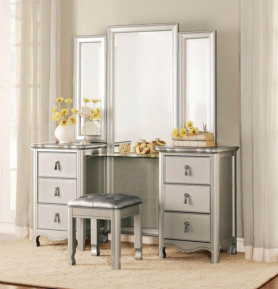1901 15 Toulouse Tri Folding Mirror Champagne Wood Vanity Table Set