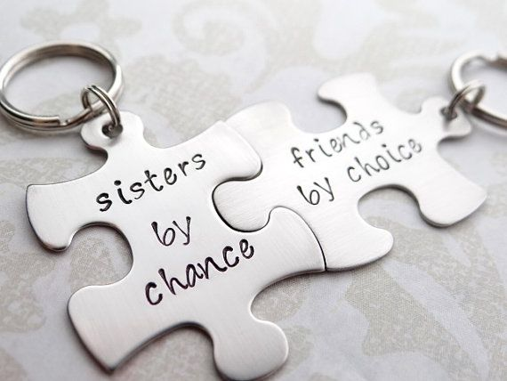 Sisters By Chance Friends By Choice Matching Keychains Words By