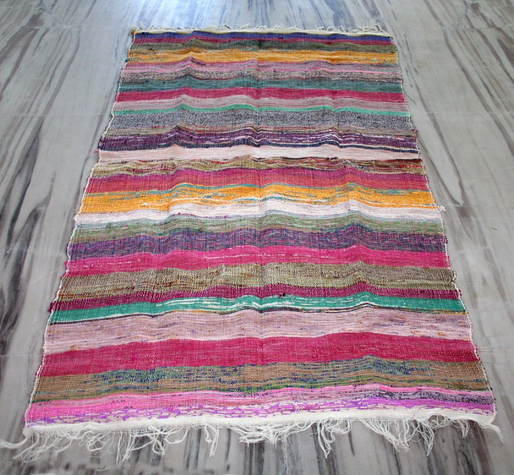 Multi Colored Decorative Chindi Woven Rag Rug Bohemian Indian Boho Yoga Mat Rug